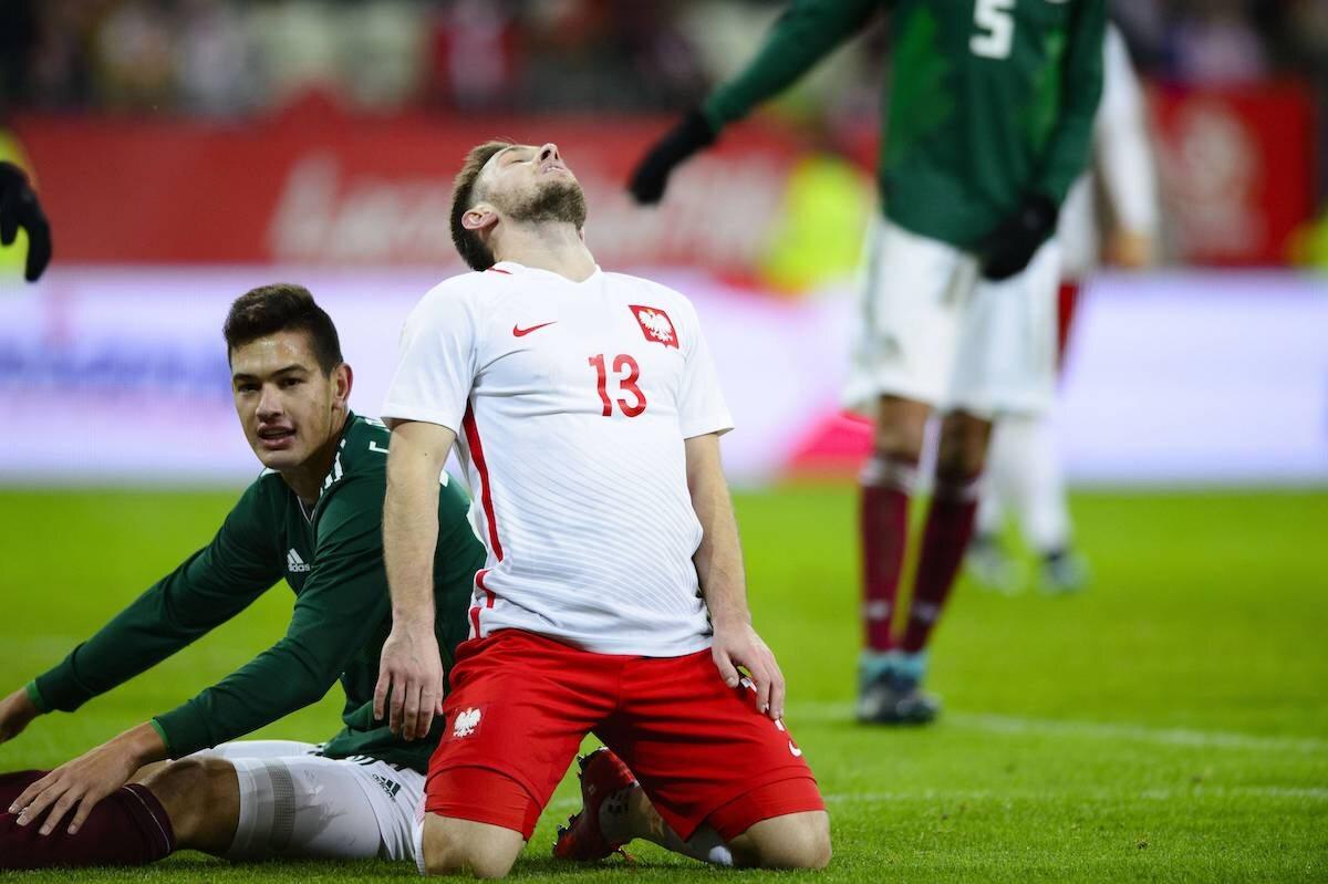 Kadr z meczu Polska - Meksyk