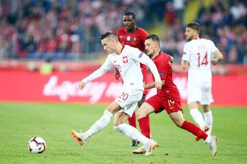 Kadr z meczu Polska - Portugalia