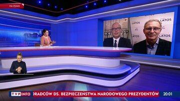 """Kadr z programu """"Gość Wiadomości"""" w TVP Info"""