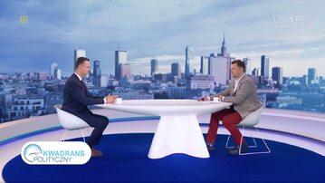 """Kadr z programu """"Kwadrans Polityczny"""" w TVP1"""