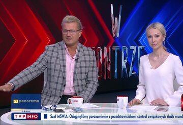 """Kadr z programu """"W kontrze"""" w TVP Info"""