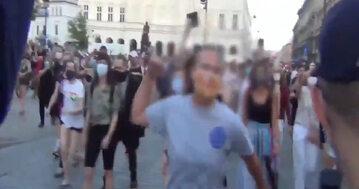 Kadr z protestu w obronie Margot