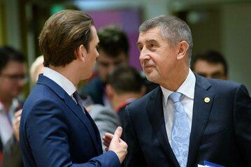 Kanclerz Austrii Sebastian Kurz i premier Czech Andrej Babisz