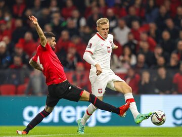 Karol Świderski w meczu z Albanią