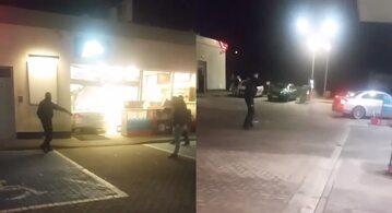 Kobieta demoluje stację benzynową, policja interweniuje