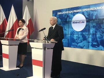 Konferencja Beaty Szydło i Jarosława Kaczyńskiego