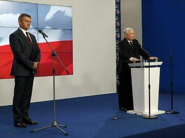 Konferencja prasowa Jarosława Kaczyńskiego i Marka Kuchcińskiego