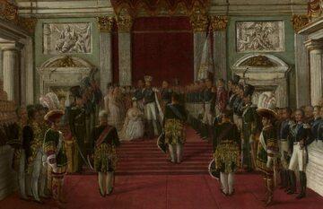 Koronacja cesarzowej i królowej Aleksandry przez Mikołaja I w Zamku Królewskim w Warszawie