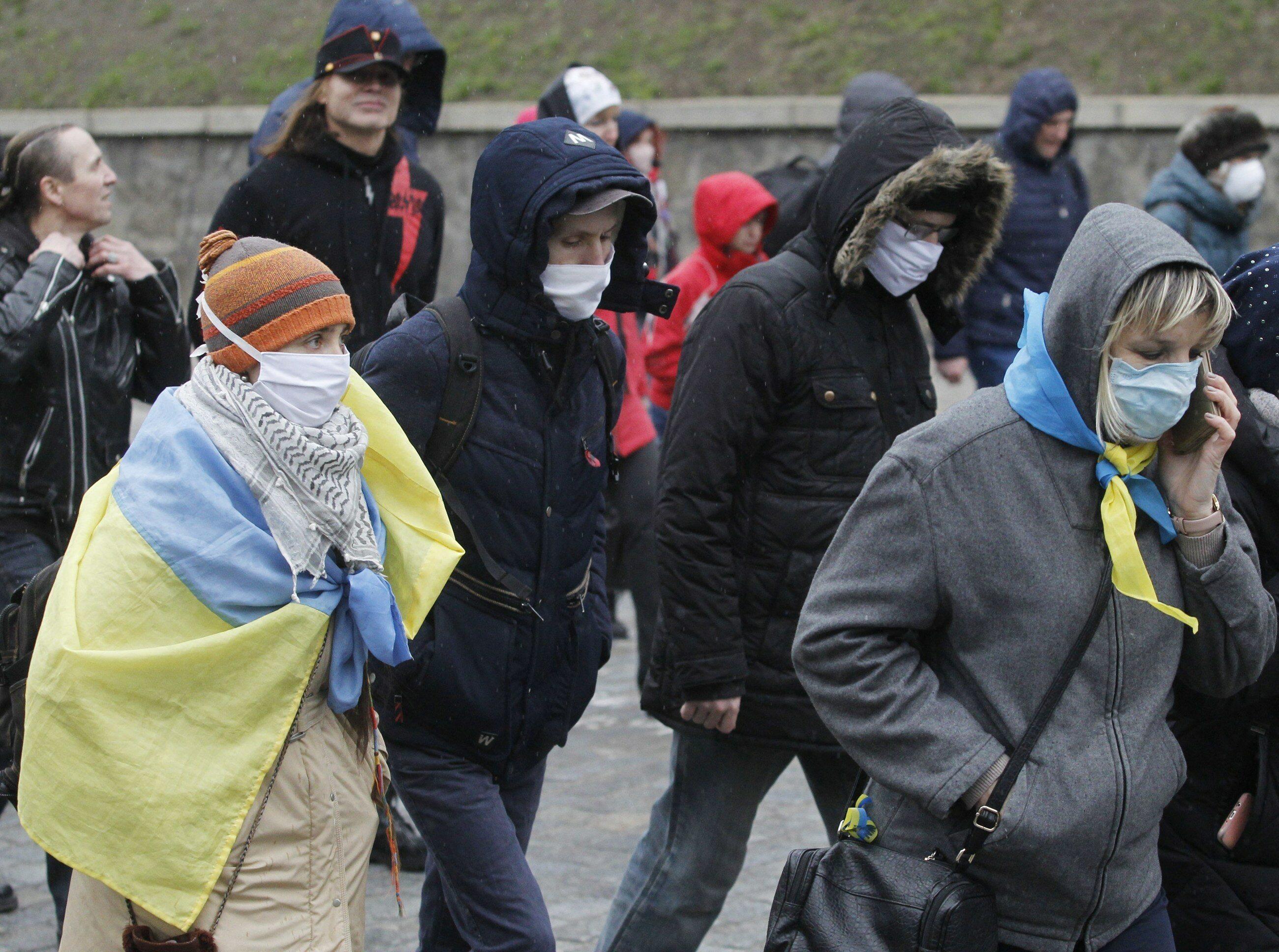 Koronawirus na Ukrainie. Manifestacja z 14 marca