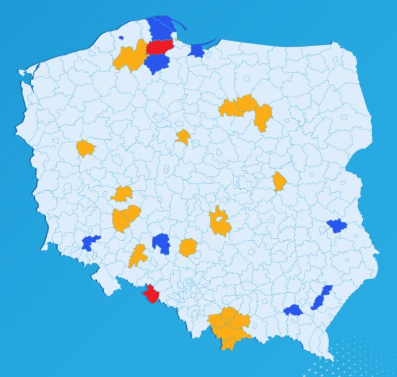 Koronawirus w Polsce. Nowa lista powiatów czerwonych i żółtych