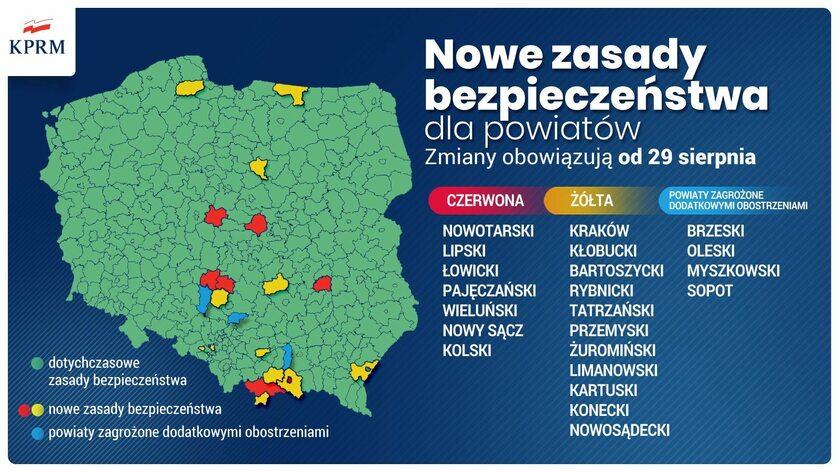 Koronawirus w Polsce. Strefy żółte i czerwone obowiązujące od 29 sierpnia
