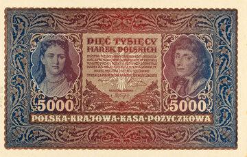 Królowa Jadwiga i Tadeusz Kościuszko na banknocie o nominale 5000 marek polskich