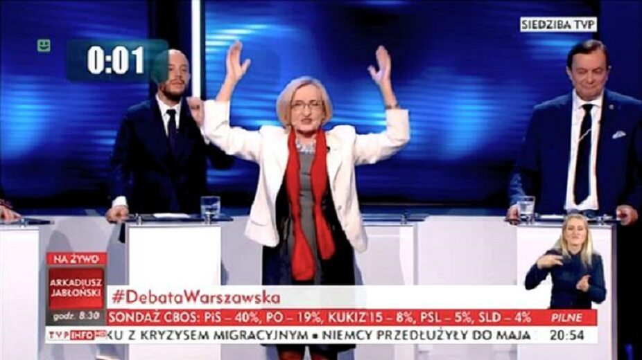 Krystyna Krzekotowska podczas debaty