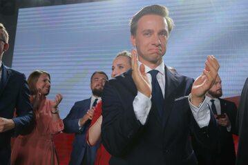 Krzysztof Bosak na wieczorze wyborczym