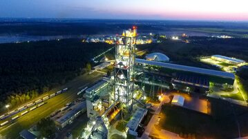 Lafarge Polska – Cementownia Kujawy sfotografowana w nocy