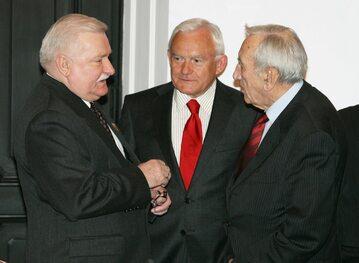 Lech Wałęsa, Leszek Miller i Tadeusz Mazowiecki w 2010 roku