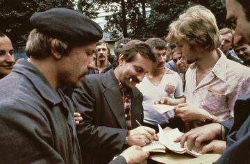 Lech Wałęsa w czasie strajku w Stoczni Gdańskiej w Sierpniu 1980 roku