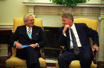 Lee Iacocca i Bill Clinton w Białym Domu
