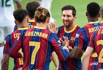 Leo Messi i inni piłkarze FC Barcelony