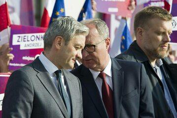 Liderzy Lewicy: Robert Biedroń, Włodzimierz Czarzasty i Adrian Zandberg