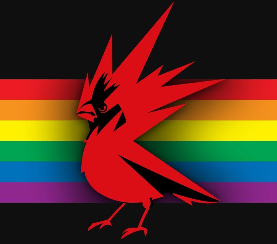 Logo CD Projekt RED z tęczową flagą