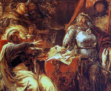 Łokietek zrywa układy z Krzyżakami w Brześciu Kujawskim, obraz Jana Matejki