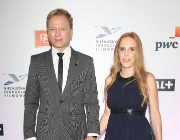 Maciej Stuhr z żoną na rozdaniu nagród Orły 2021