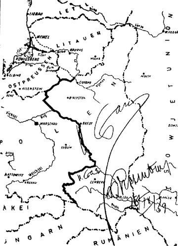 Mapa ostatecznego podziału Polski pomiędzy III Rzeszę a ZSRR z 28 września 1939 r. z wytyczoną granicą. Podpisy za zgodność: Stalin, Ribbentrop