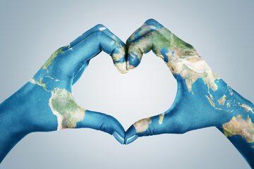 Mapa świata na dłoni