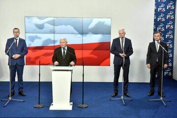 Mateusz Morawiecki, Jarosław Kaczyński, Jarosław Gowin i Zbigniew Ziobro