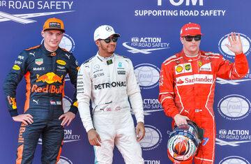 Max Verstappen, Lewis Hamilton i Kimi Raikkonen