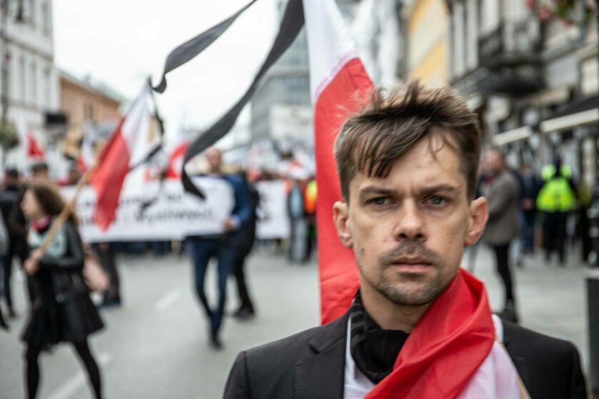 Michał Kołodziejczak z AGROunii podczas wrześniowego protestu rolników