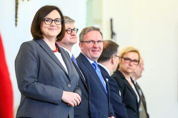 Ministrowie Kancelarii Prezydenta RP, od lewej: Małgorzata Sadurska, Paweł Soloch i Krzysztof Szczerski