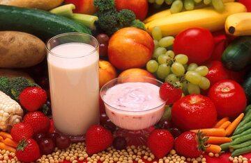 Mleko, warzywa i owoce
