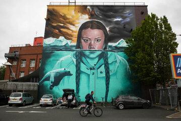 Mural z Gretą Thunberg, jedną z twarzy protestów klimatycznych