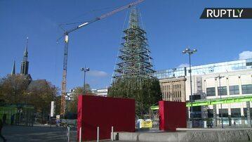 Największa choinka na świecie demontowana w Dortmundzie. Władze obawiają się zbyt dużej liczby oglądających