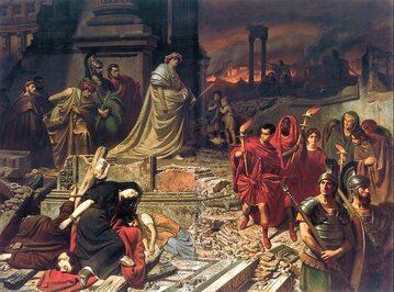 Neron ogląda płonący Rzym, XIX-wieczny obraz Carla Theodora von Piloty