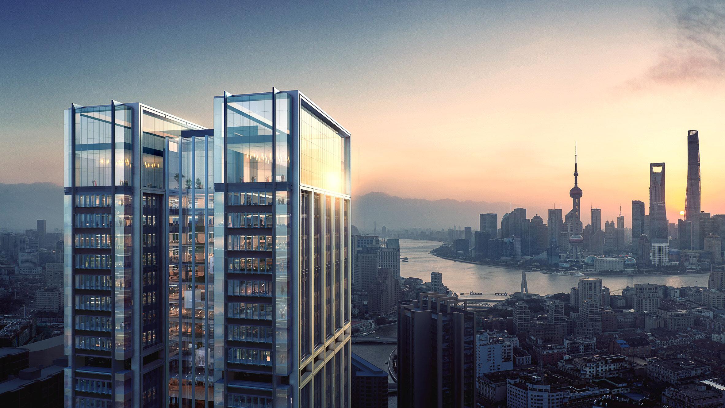 Nowy wieżowiec w Szanghaju