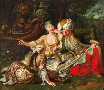 """Obraz """"Gra w kości"""". Według inwentarza z Pałacu Saskiego XVIII-wieczny obraz przedstawia królewskiego eunucha Matthiasa"""