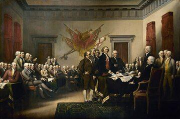 Obraz ilustrujący podpisanie deklaracji niepodległości autorstwa Johna Trumbulla (1819)