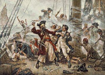 Obraz przedstawiający walkę pomiędzy piratem Czarnobrodym a porucznikiem Maynardem w zatoce Ocracoke