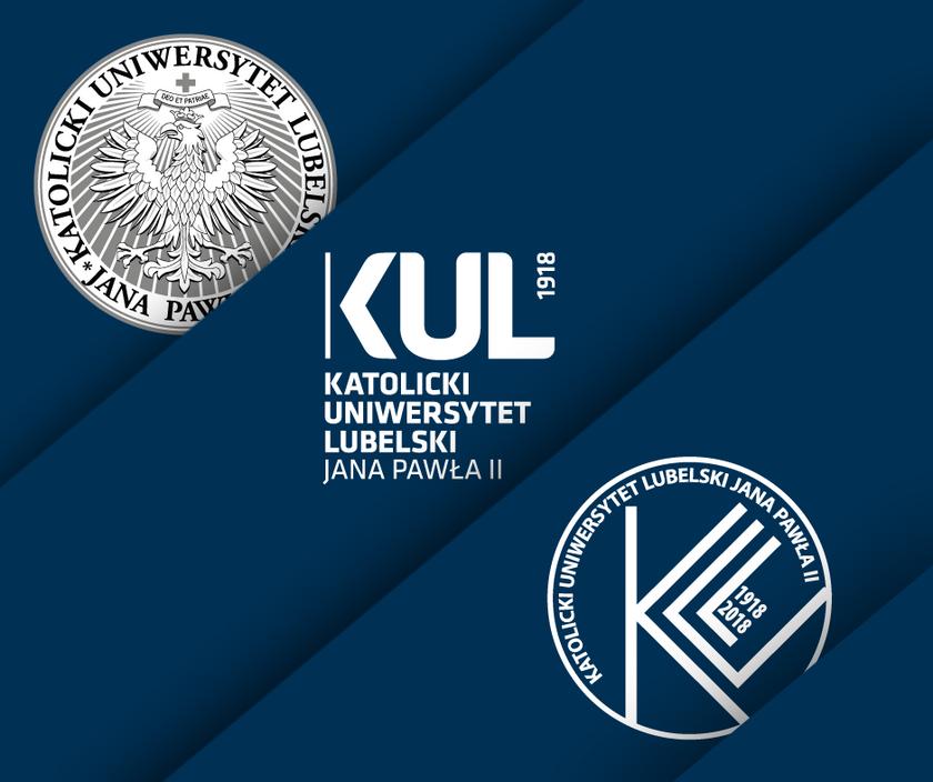 Od lewej: godło, logo i specjalny znak KUL