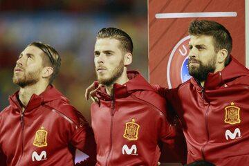 Od lewej: Sergio Ramos, David de Gea, Gerard Pique