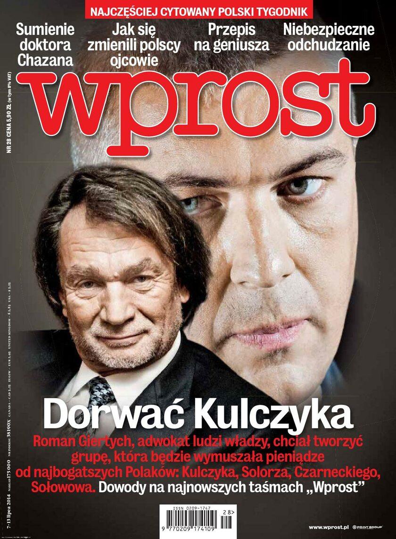 """Okładka numeru 28/2014 """"Wprost"""""""