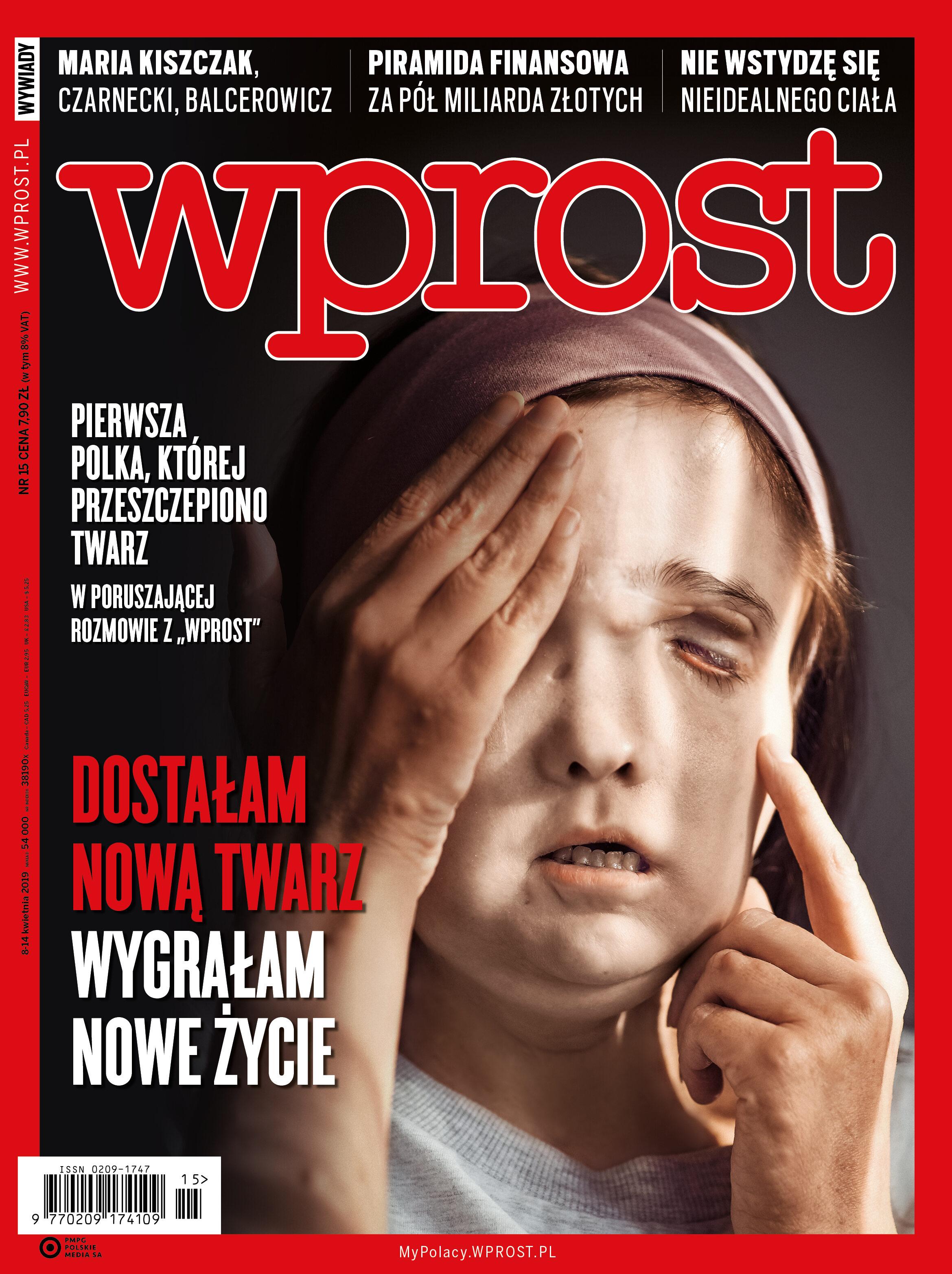 """Okładka """"Wprost"""" nr 15/2019"""