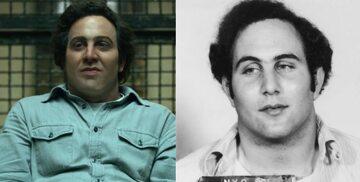 Olivier Cooper jako David Berkowitz i prawdziwy David Berkowitz