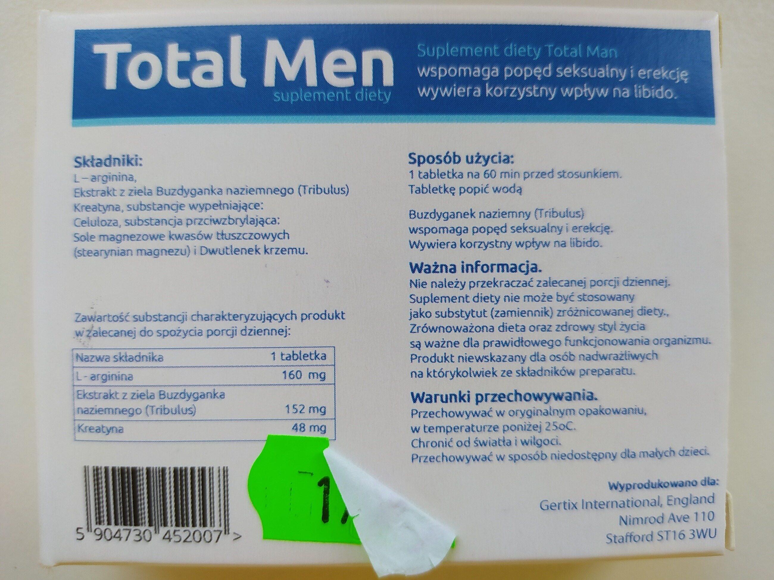 "Opakowanie suplementu diety ""Total Men"""
