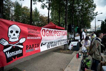 Paryż, protest przeciwko koncernowi Monsanto i żywności genetycznie modyfikowanej