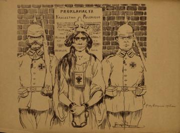 Piąty listopada 1916 roku rysunek Józefa Rapackiego z 1919 roku
