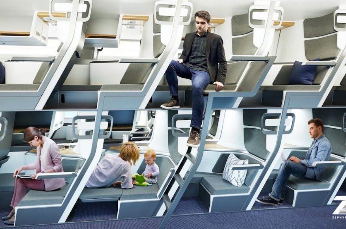 Piętrowe siedzenia w klasie ekonomicznej
